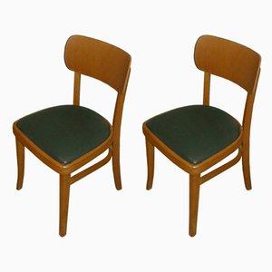 Mid-Century Esszimmerstühle mit Bezügen aus grünem Skai, 2er Set