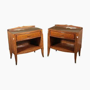 Italian Burl Veneer, Brass and Glass Nightstands, 1940s, Set of 2