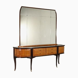 Italian Rosewood Veneer, Glass, and Brass Mirrored Buffet by Vittorio Dassi, 1960s