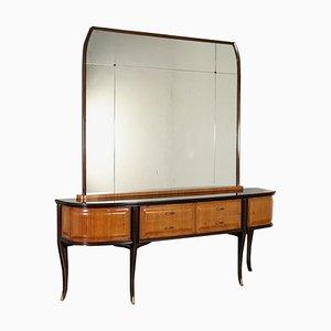 Italienisches Buffet aus Palisanderfurnier, Glas & Messing mit Spiegel von Vittorio Dassi, 1960er
