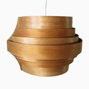 Lampada da soffitto in legno, Svezia, anni '70
