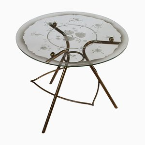 Italian Brass and Glass Coffee Table, 1940s
