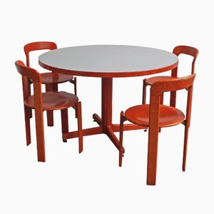 Red Dining Chairs and Table by Bruno Rey for Dietiker, 1970s, Set of 5