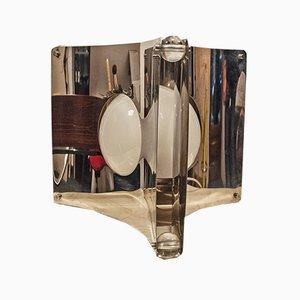 Lampada da tavolo in vetro, acciaio ed alluminio, Italia, anni '70