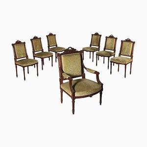 Italienische Vintage Esszimmerstühle aus Nussholz, 7er Set
