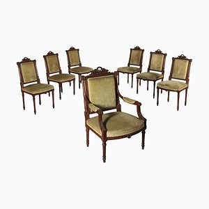 Vintage Italian Walnut Dining Chairs, Set of 7