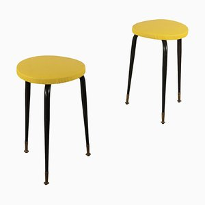 Italian Metal and Skai Stools, 1960s, Set of 2