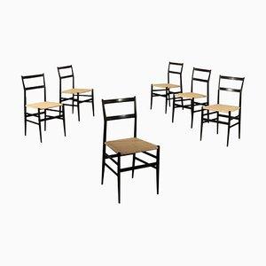 Italienische Modell Superleggera Esszimmerstühle aus ebonisiertem Holz & Flechtsitzen von Gio Ponti für Cassina, 1960er, 6er Set