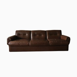 Brown Stitched Leather 3-Seater Sofa, 1970s