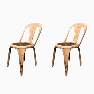Belgian Steel & Wood Dining Chairs, 1950s, Set of 2