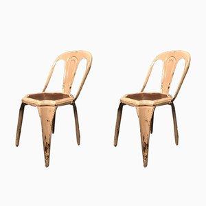 Belgische Esszimmerstühle aus Stahl & Holz, 1950er, 2er Set