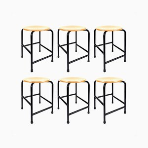 Wood & Iron School Stools, 1980s, Set of 6
