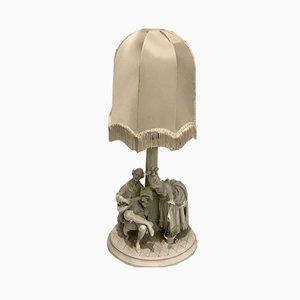 Weiße Tischlampe aus Keramik, 1940er