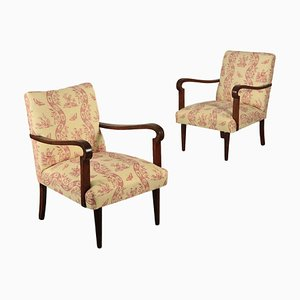 Italian Walnut Armchairs, 1940s, Set of 2