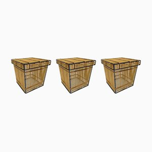 Dutch Rattan and Iron Boxes from Rohé Noordwolde, 1960s, Set of 3