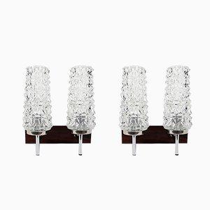 Wandlampen aus Glas, Holz & Chrom, 1960er, 2er Set