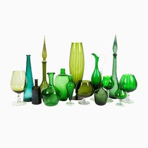 Vintage Green Glass Vases, Set of 15