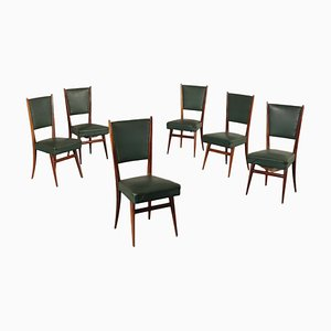 Italian Stained Beech and Black Leatherette Side Chairs, 1950s, Set of 6
