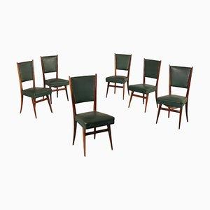 Italienische Beistellstühle aus gebeizter Buche & schwarzem Kunstleder, 1950er, 6er Set