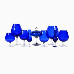 Vintage Blue Glass Vases, Set of 9
