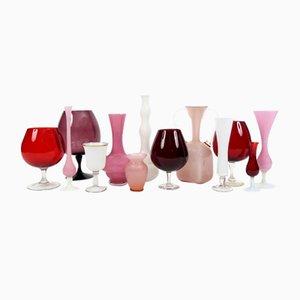 Vintage Green Glass Vases, Set of 13