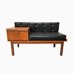 Teak and Leather Telephone Bench by Chippy Heath, 1960s