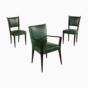 Italian Green Leatherette Side Chairs, 1950s, Set of 3
