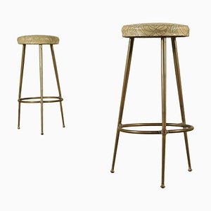 Italian Brass and Skai Stools, 1950s, Set of 2