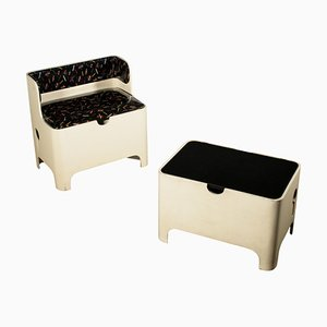 Italian Lacquered Wood and Skai Bench and Stool, 1960s, Set of 2