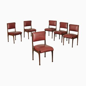 Red Leatherette and Rosewood Side Chairs, 1960s, Set of 6