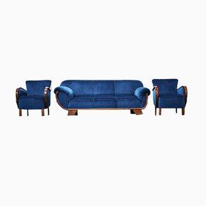 Butaca y sofá de terciopelo, años 50.
