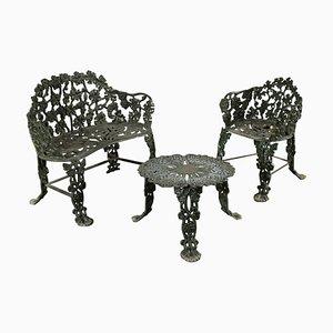 Assises et Table de Jardin en Aluminium, Italie, années 50, Set de 3