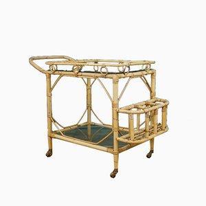 Bamboo Bar Cart Trolley, 1960s