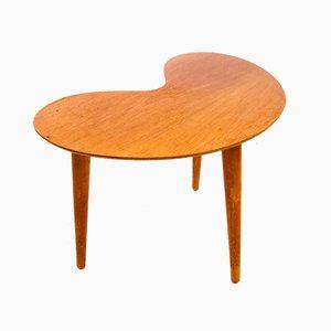Tavolino in teak a forma di rene, anni '60
