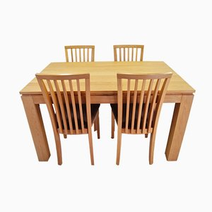 Danish Oak Dining Table & Chairs Set from Skovby, 1990s, Set of 5