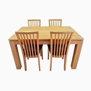 Juego de mesa de comedor y sillas danesas de roble de Skovby, años 90. Juego de 5