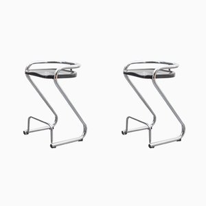 Vintage Swedish Model S70-3 Tubular Steel Stools by Börge Lindau & Bo Lindekrantz for Lammhults, Set of 2