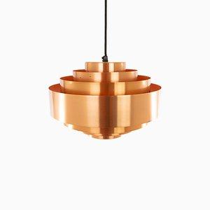 Lámpara colgante de cobre de Johannes Hammerborg para Fog & Mørup, años 70