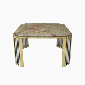 French Marble Chrome and Brass Side Table, 1970s