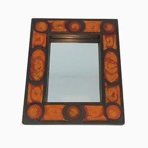 French Ceramic Mirror, 1970s