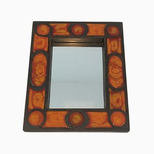 French Ceramic Mirror, 1970s