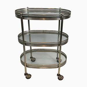 French Neoclassical Silver Plated & Brass Drinks Trolley, 1940s