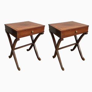 French Mahogany & Brass Side Tables, 1940s, Set of 2