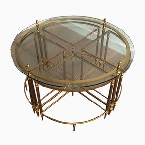 French Neoclassical Brass Coffee Table, 1970s