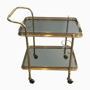 Neoclassical Brass & Glass Trolley, 1940s