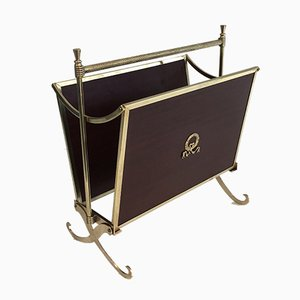 Neoclassical Brass and Mahogany Magazine Rack from Maison Jansen, 1940s