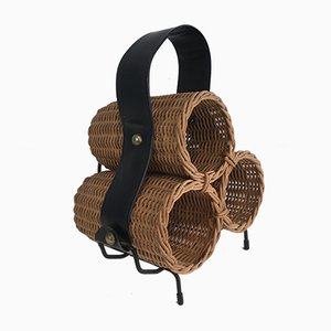 Black Lacquered Metal, Rattan & Faux-Leather Bottles Rack, 1970s
