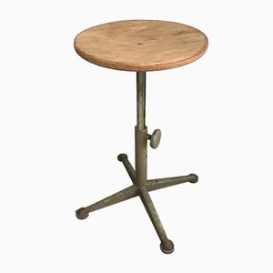 Antique Industrial Steel and Wood Stool, 1900s