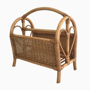 French Rattan Magazine Rack, 1970s