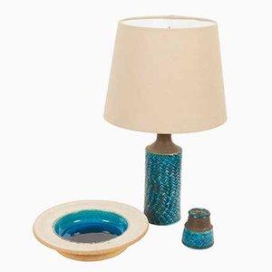 Juego de lámpara de mesa, plato y vaso vintage de cerámica de Nils Kähler para HAK, años 60